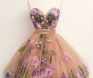 dress, flores, and Nude image
