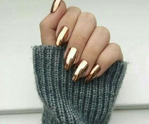 nails, gold, and girl image