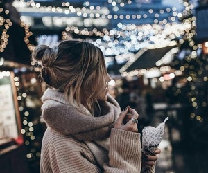 girl, light, and winter image
