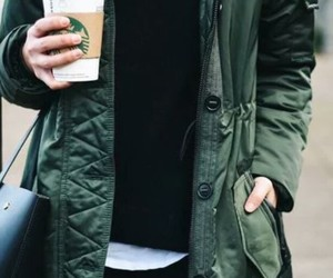 bags, coffee, and outfit image