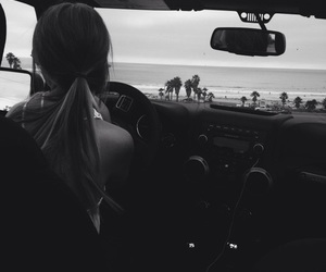 girl, car, and beach image