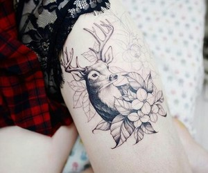 deer, sketch, and tattoo image