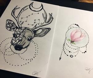 art, black&white, and deer image