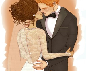 hermione granger, wedding, and couple image