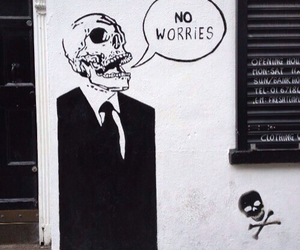 no worries, skull, and grunge image