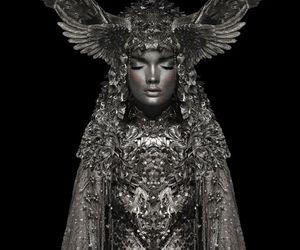 black and white, dark, and model image