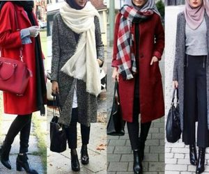 boots, sweater, and hijab fashion look image