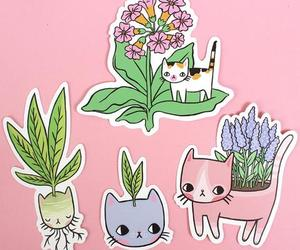 cat, drawing, and plants image
