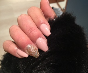 champagne, gel, and glitter image