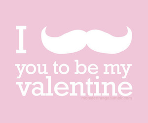 valentine, mustache, and pink image
