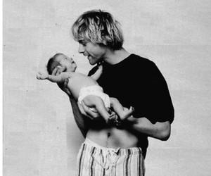 kurt cobain, black and white, and baby image