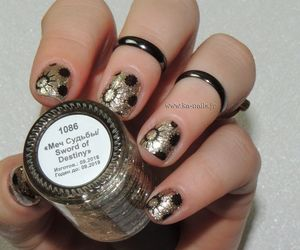 noir, nailart, and stamping image
