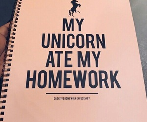 unicorn, homework, and notebook image