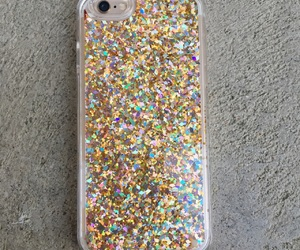 gold glitter, iphone 6, and iphone 7 image