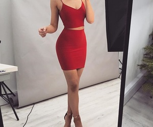 red, dress, and love image
