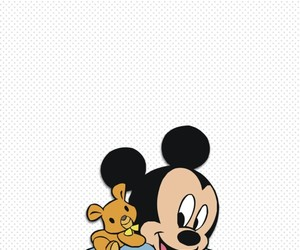 baby, teddy bear, and mickey mouse image
