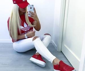 fashion, adidas, and red image
