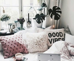 green plants, bedroom goals, and pink pillows image