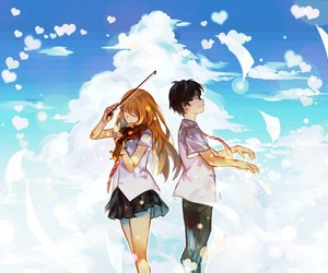 anime, shigatsu wa kimi no uso, and kaori and kousei image