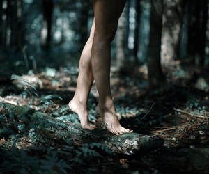 dark, feet, and forest image