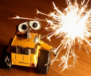 wall-e, fireworks, and yellow image