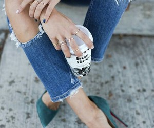 accessory, jeans, and drink image