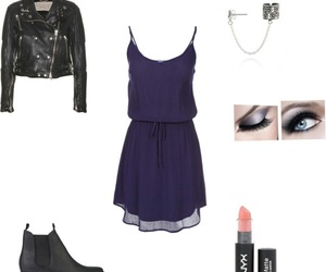 outfit, cool, and leather jacket and dress image