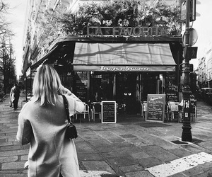 black and white, wanderlust, and cafe image