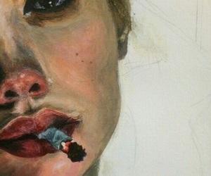 art, cigarette, and smoke image