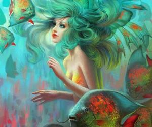 mermaid, fish, and art image