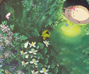 anime, green, and My Neighbor Totoro image