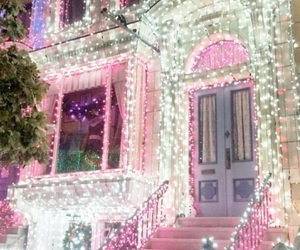 christmas, lights, and pink image