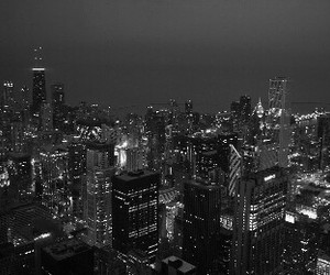 city, night, and black and white image