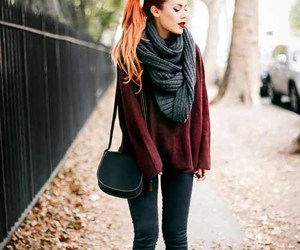 fall outfit, luanna perez, and maroon sweater image