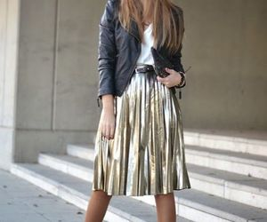 holiday outfit, christmass outfits, and sequin golden midi skirt image