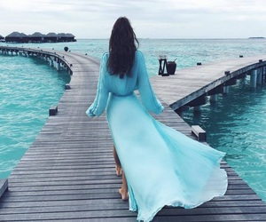 amazing, blue dress, and blue water image