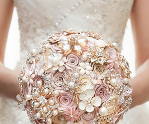 bouquet, pink, and wedding image