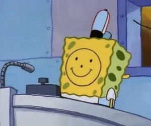 spongebob, cartoon, and sad image