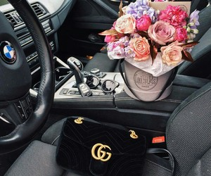 bmw, flowers, and car image