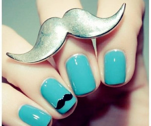 nails, blue, and mustache image
