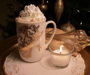 candle, whipped cream, and christmas image