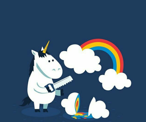 unicorn, rainbow, and clouds image