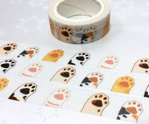hands up, cat tape, and hello image