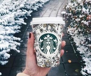 winter, starbucks, and snow image