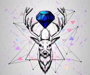 wallpaper, deer, and art image