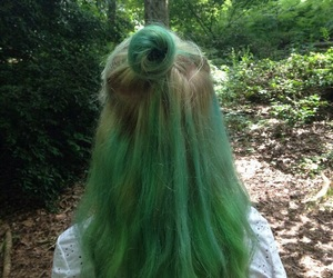 green, hair, and aesthetic image