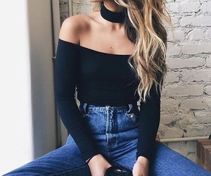denim, fashion, and hightwaisted image