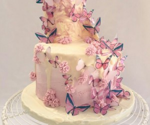 butterflies, cake, and pink image