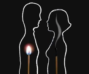 love, fire, and couple image