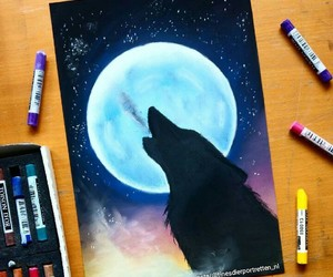 drawing, night, and wolf image